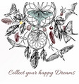hand drawn dream catcher in engraved style vector image vector image
