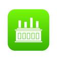 industrial factory building icon digital green vector image vector image