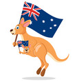 kangaroo with a bain a bag jump and wave flags vector image vector image