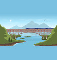 landscape with railway bridge trevel train vector image