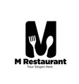 m restaurant simple logo designs modern vector image