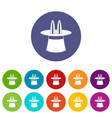 magic hat set icons vector image