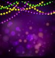 mardi gras bead garlands and bokeh card vector image