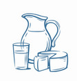 milk products with glass vector image vector image