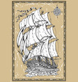 old romantic sailing vessel with compass vector image vector image