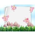 Paper design with butterflies flying in garden vector image vector image