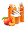 peach yogurt packagings 3d photo realistic vector image vector image