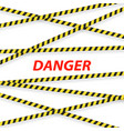 police tape and inscription danger on a white vector image vector image