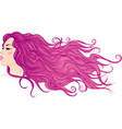 Profile of a girl with long flowing purple hair vector image