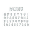 retro style 3d font clipart letters and digits vector image vector image