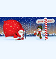 santa claus and snowman with a new year sign vector image vector image
