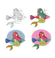set cute cartoon little mermaid siren sea vector image vector image