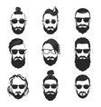 set of 9 hipsters bearded men with different vector image vector image
