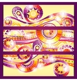 Set of abstract doodle tribal cards vector image vector image