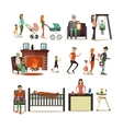 set of family concept design elements vector image
