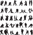 set silhouettes couples dancing tango vector image