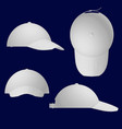 set with white summer caps with peaks side front vector image