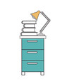 silhouette color sections of filing cabinet with vector image vector image