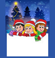 small frame with christmas children vector image vector image