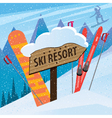 Snow slope with skis snowboard and inscription vector image