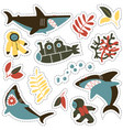 sticker set with angry sharks cute divers and vector image