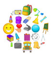 study icons set cartoon style vector image vector image