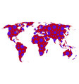 stylized world map with coronavirus covid-19 over vector image vector image