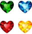 The set of four colorful diamond hearts vector image vector image