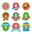 trophy cup goblet emblems achievement awards vector image vector image