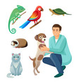 veterinarian in robe with dog and exotic pets set vector image