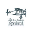 vintage retro airplane logo life is a journey vector image vector image