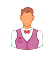 Waiter icon in cartoon style vector image