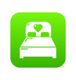 wedding couple bed icon green vector image