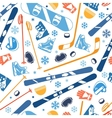Winter sports seamless pattern with equipment flat vector image vector image