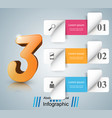 three 3d digital infographic vector image
