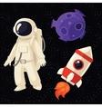 Set of cartoon astronaut rocket and planet in vector image