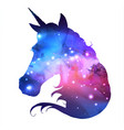 artistic silhouette of fantasy animal unicorn vector image