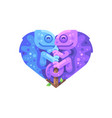 blue and purple chameleons in the shape of a heart vector image vector image