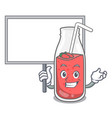 bring board strawberry smoothie character cartoon vector image vector image