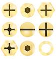 bronze screw head vector image vector image