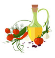 carafe with olive oil isolated on background vector image