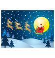christmas santa and reindeer on sky vector image