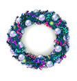 christmas wreath on white background vector image vector image