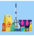 Cleaning set MOP sponge blue plastic bucket vector image vector image