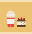 cocktail in disposable cup with straw and dessert vector image