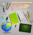 collection school supplies design vector image vector image