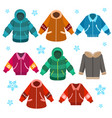 colorful winter jackets set vector image vector image