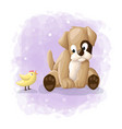 cute cartoon dog and baby chicken template vector image vector image