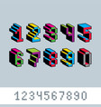 cybernetic 3d numbers pixel art numeration pixel vector image
