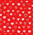different sketch style hearts seamless pattern vector image vector image